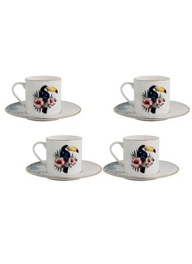 Porland Exotıc 4'Lü Türk Kahvesi Fincanı Desen3 Renkli